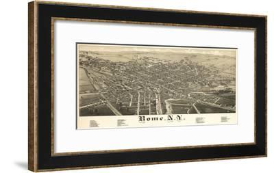 Rome, New York - Panoramic Map-Lantern Press-Framed Art Print