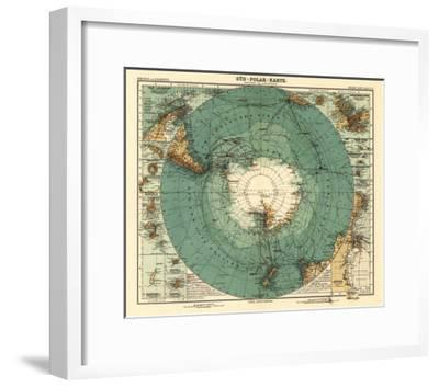 Panoramic Map of Antarctica - Anartica-Lantern Press-Framed Art Print