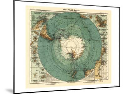 Panoramic Map of Antarctica - Anartica-Lantern Press-Mounted Art Print