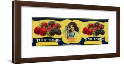 Tick Tock Berry Label - San Francisco, CA-Lantern Press-Framed Art Print