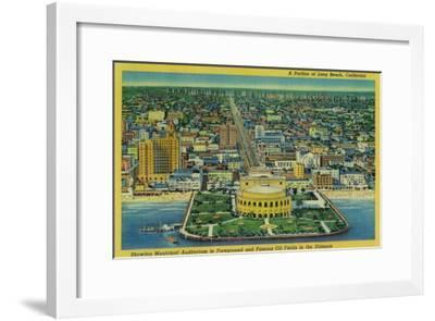 Municipal Auditorium on Beach, Oil Fields in Distance - Long Beach, CA-Lantern Press-Framed Art Print