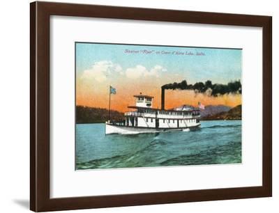 View of the Steamer Flyer on the Lake - Coeur d'Alene, ID-Lantern Press-Framed Art Print