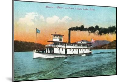 View of the Steamer Flyer on the Lake - Coeur d'Alene, ID-Lantern Press-Mounted Art Print
