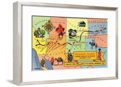 Map of Fred Harvey Hotel Locations - CA to KS-Lantern Press-Framed Art Print