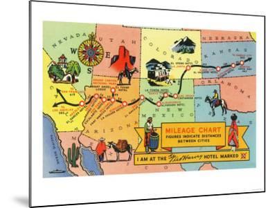 Map of Fred Harvey Hotel Locations - CA to KS-Lantern Press-Mounted Art Print