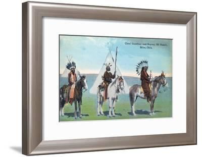 101 Ranch View of Chief Goodboy and Braves - Bliss, OK-Lantern Press-Framed Art Print