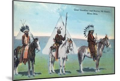 101 Ranch View of Chief Goodboy and Braves - Bliss, OK-Lantern Press-Mounted Art Print