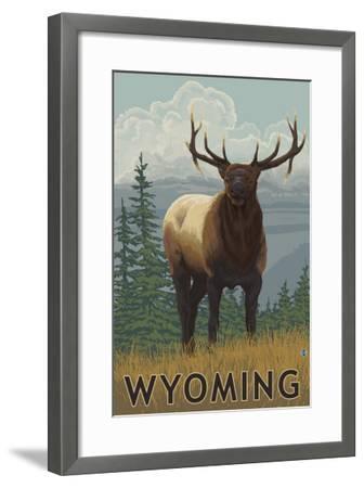 Elk Scene - Wyoming-Lantern Press-Framed Art Print