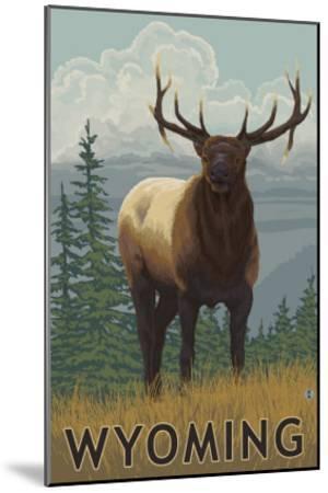 Elk Scene - Wyoming-Lantern Press-Mounted Art Print