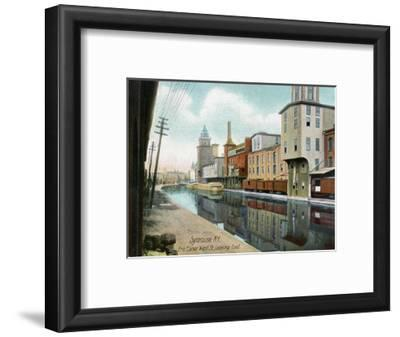 Syracuse, New York, Eastern View down West Street on the Erie Canal-Lantern Press-Framed Art Print