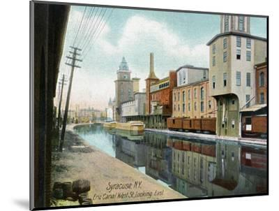 Syracuse, New York, Eastern View down West Street on the Erie Canal-Lantern Press-Mounted Art Print