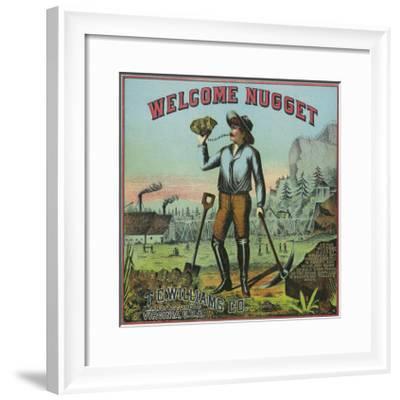 Virginia, Welcome Nugget Brand Tobacco Label-Lantern Press-Framed Art Print