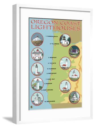 Oregon Coast, View of the Coastal Lighthouses-Lantern Press-Framed Art Print
