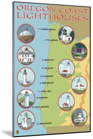 Oregon Coast, View of the Coastal Lighthouses-Lantern Press-Mounted Art Print
