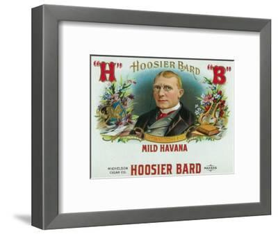 Hoosier Bard Brand Cigar Box Label, James Whitcomb Riley, American Author and Poet-Lantern Press-Framed Art Print
