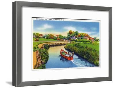 Keansburg, New Jersey - View of People Boating on the Creek, c.1937-Lantern Press-Framed Art Print
