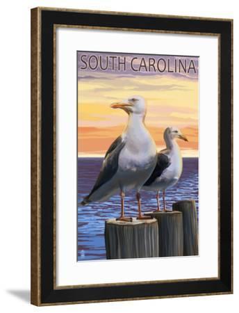South Carolina - Sea Gulls-Lantern Press-Framed Art Print