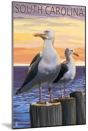 South Carolina - Sea Gulls-Lantern Press-Mounted Art Print