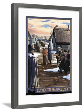 Plymouth, Massachusetts - Pilgrims going to Church-Lantern Press-Framed Art Print