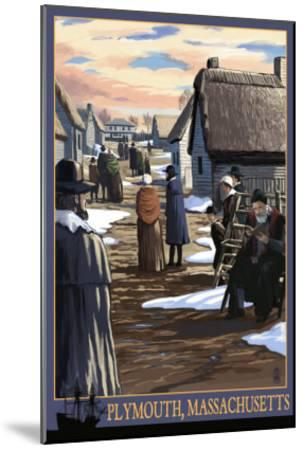 Plymouth, Massachusetts - Pilgrims going to Church-Lantern Press-Mounted Art Print