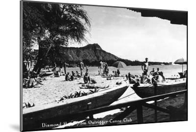 Hawaii - O'ahu Island; Diamond Head from Outrigger Canoe Club-Lantern Press-Mounted Art Print