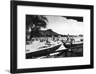 Hawaii - O'ahu Island; Diamond Head from Outrigger Canoe Club-Lantern Press-Framed Art Print
