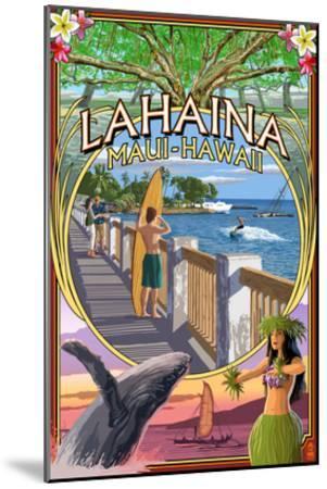 Lahaina, Maui, Hawaii - Town Scenes Montage-Lantern Press-Mounted Art Print