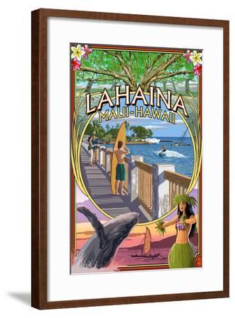 Lahaina, Maui, Hawaii - Town Scenes Montage-Lantern Press-Framed Art Print