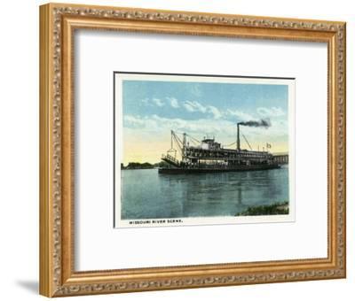 Kansas City, Missouri - View of a Steamer on the Missouri River-Lantern Press-Framed Art Print