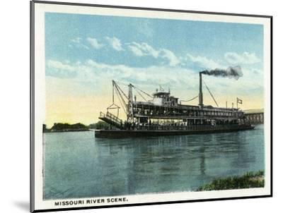 Kansas City, Missouri - View of a Steamer on the Missouri River-Lantern Press-Mounted Art Print