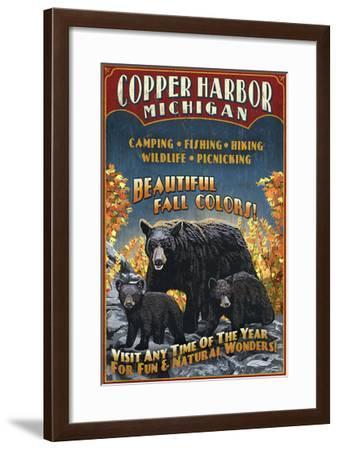 Copper Harbor, Michigan - Black Bears-Lantern Press-Framed Art Print