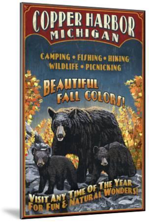 Copper Harbor, Michigan - Black Bears-Lantern Press-Mounted Art Print