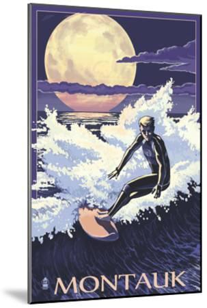 Montauk, New York - Night Surfer-Lantern Press-Mounted Art Print