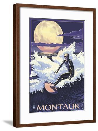 Montauk, New York - Night Surfer-Lantern Press-Framed Art Print