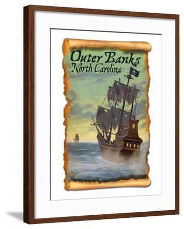 Pirate Ship - Outer Banks, North Carolina-Lantern Press-Framed Art Print