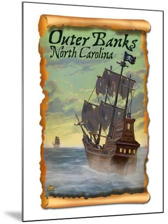 Pirate Ship - Outer Banks, North Carolina-Lantern Press-Mounted Art Print