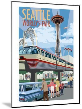 Space Needle Opening Day Scene - Seattle, WA-Lantern Press-Mounted Art Print