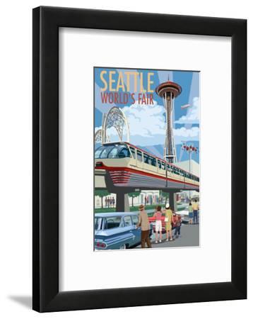 Space Needle Opening Day Scene - Seattle, WA-Lantern Press-Framed Art Print