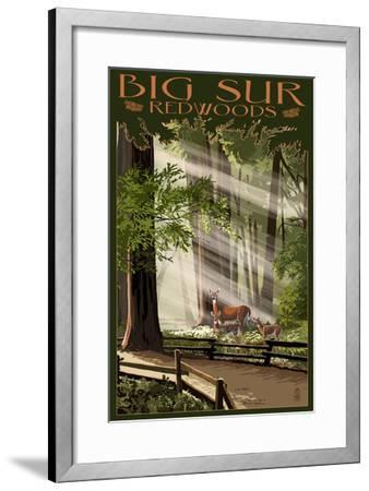 Big Sur, California - Deer and Fawns-Lantern Press-Framed Art Print