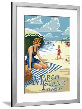 Marco Island, Florida - Woman on Beach-Lantern Press-Framed Art Print