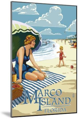 Marco Island, Florida - Woman on Beach-Lantern Press-Mounted Art Print