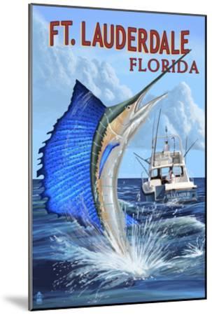 Ft. Lauderdale, Florida - Sailfish Scene-Lantern Press-Mounted Art Print