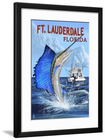 Ft. Lauderdale, Florida - Sailfish Scene-Lantern Press-Framed Art Print