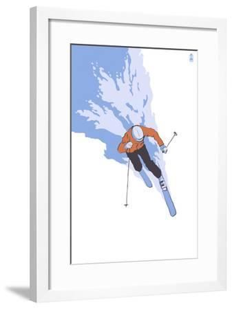 Downhill Skier Stylized - Male-Lantern Press-Framed Art Print