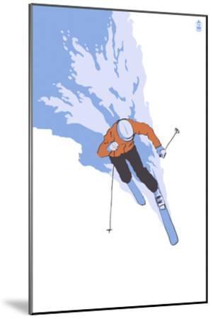 Downhill Skier Stylized - Male-Lantern Press-Mounted Art Print
