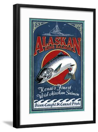 Kenai River, Alaska - Salmon-Lantern Press-Framed Art Print