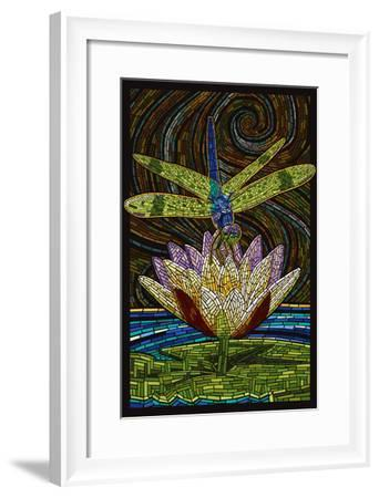 Dragonfly - Paper Mosaic-Lantern Press-Framed Art Print