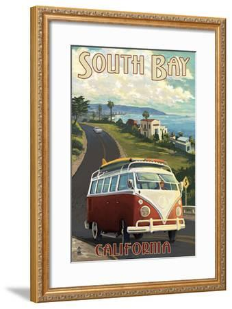 South Bay, California - VW Van Cruise-Lantern Press-Framed Art Print