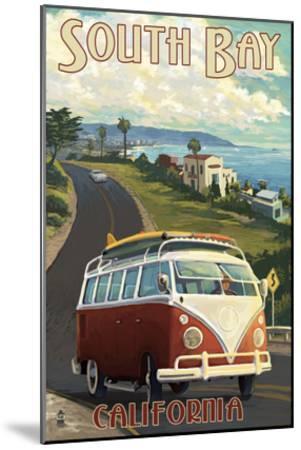 South Bay, California - VW Van Cruise-Lantern Press-Mounted Art Print