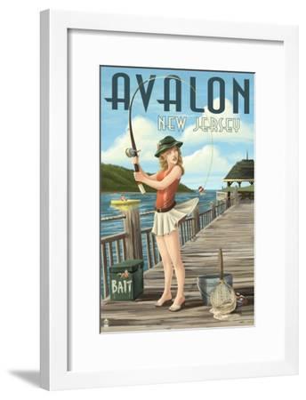 Avalon, New Jersey - Fishing Pinup-Lantern Press-Framed Art Print